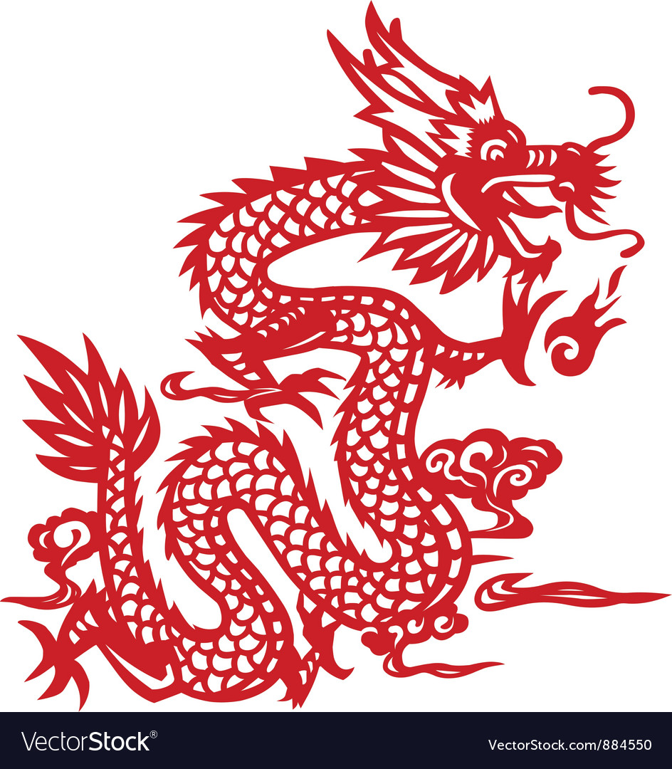 traditional chinese dragon paper cut art vector image