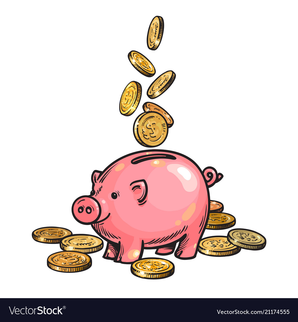 Cartoon piggy bank with falling coins