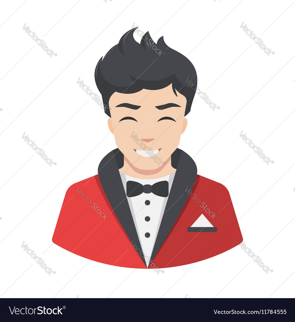 Celebrity men actor in suit Flat style avatar vector image