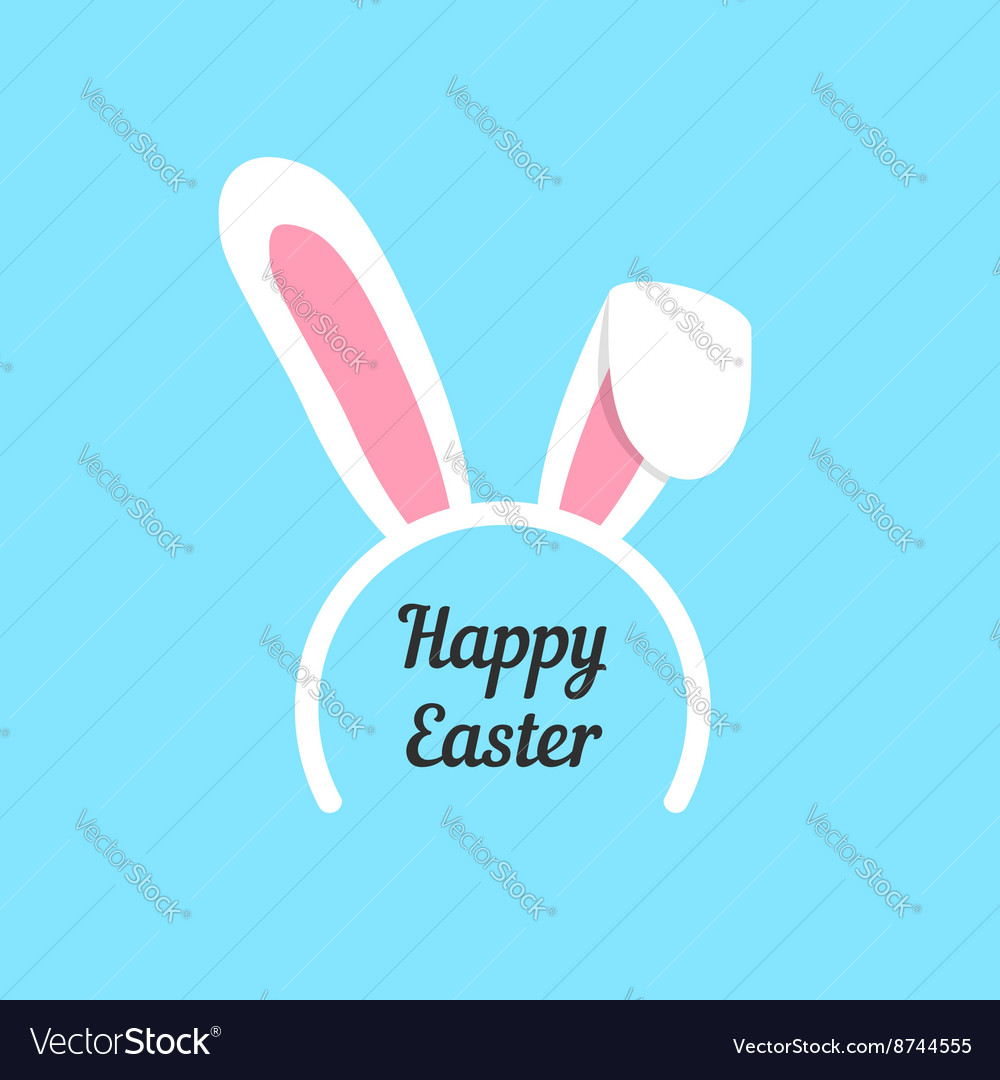happy easter with rabbit ears mask vector 8744555