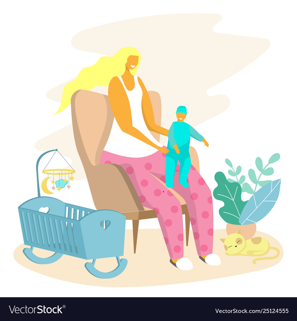 Happy motherhood baby care concept for web