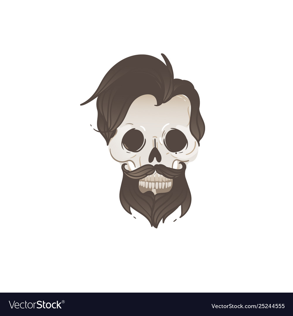 Hipster male skull with black hair and beard