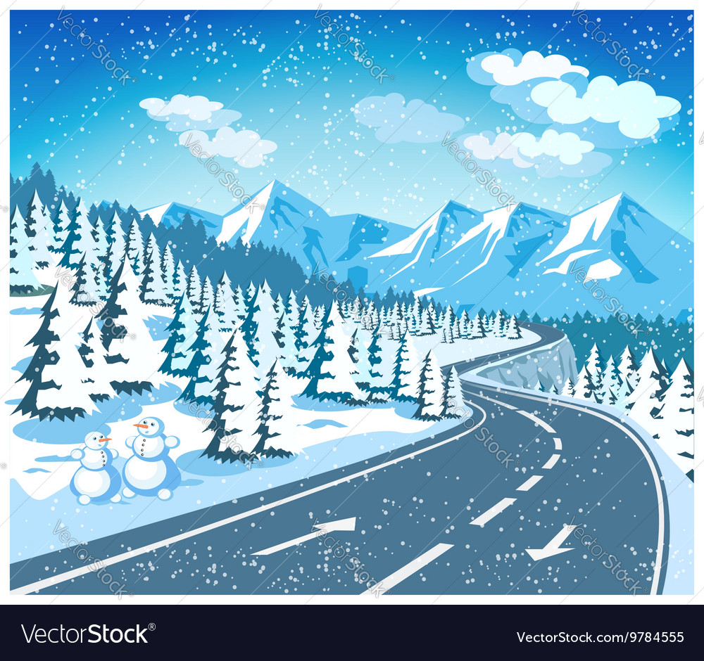 Mountain landscape in winter vector image