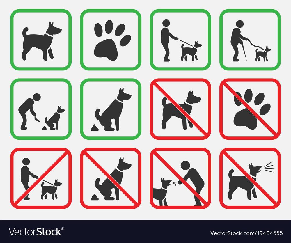 no dogs signs dogs allowed and prohibited icons vector image