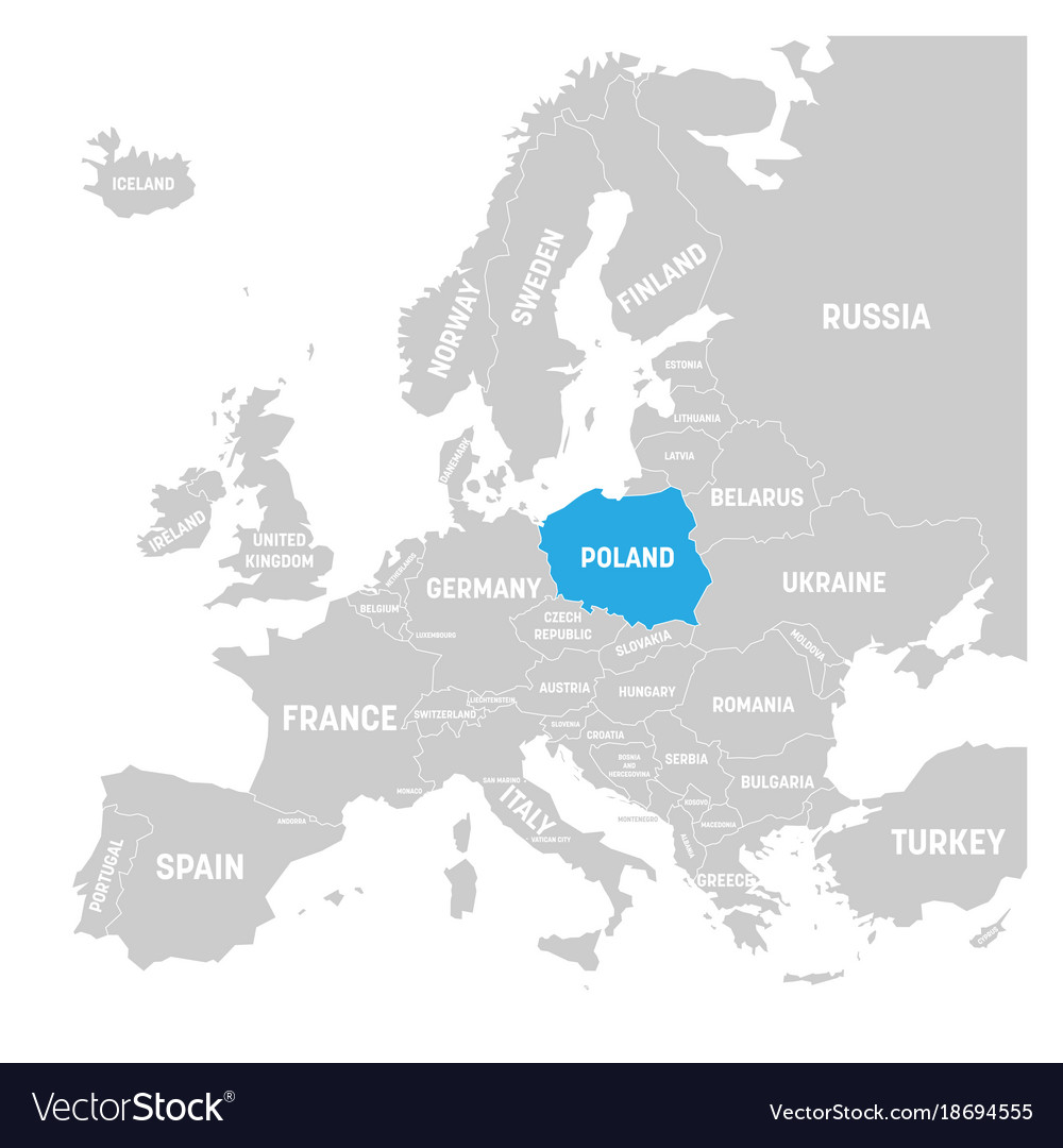 Poland Marked By Blue In Grey Political Map Of Vector Image