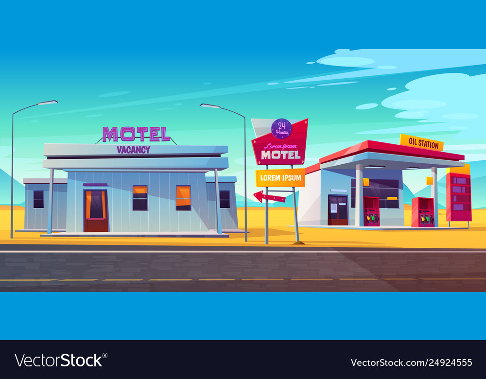 Roadside motel with car parking and oil station