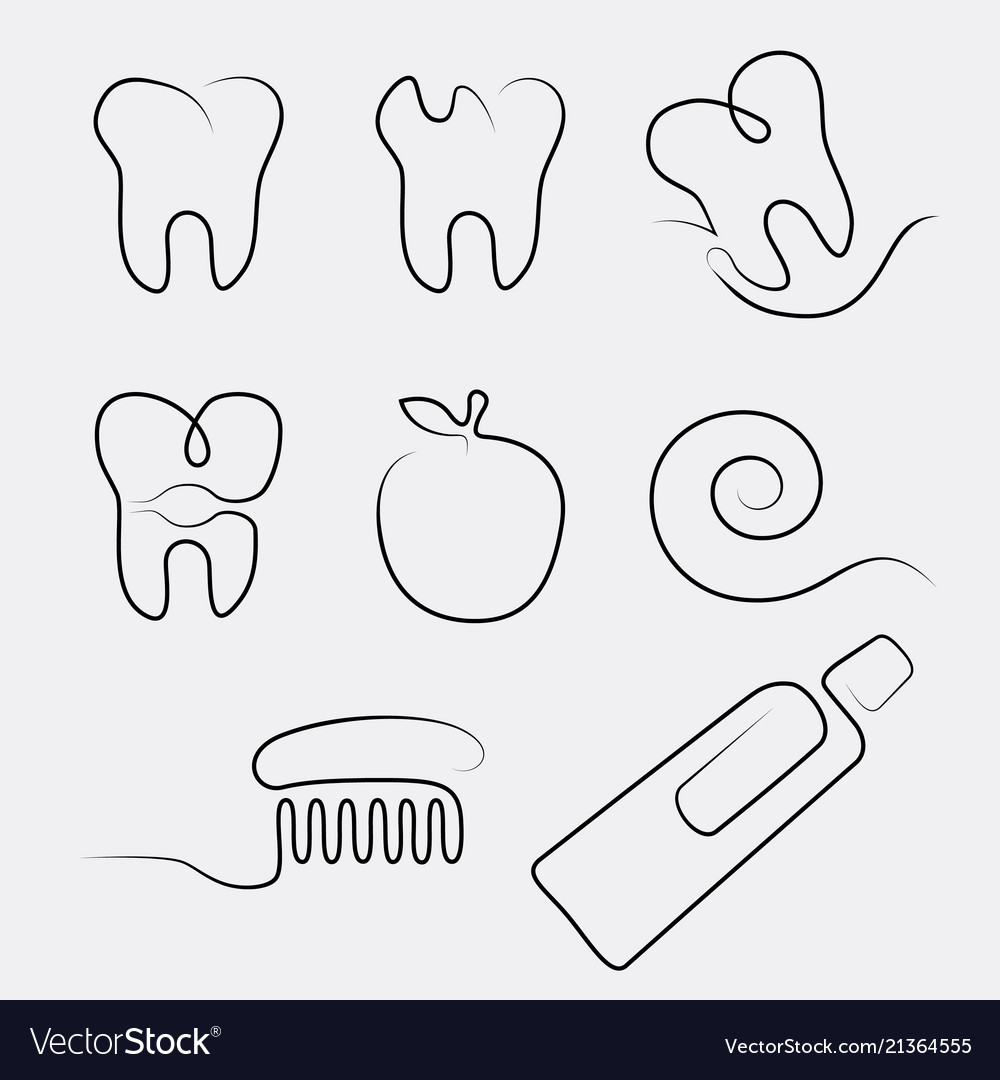 Set line icons dental care in whimsy style