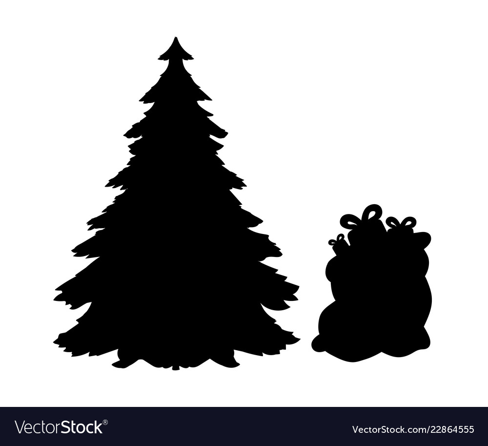Christmas Trees Silhouette.Silhouette Christmas Trees And Gifts
