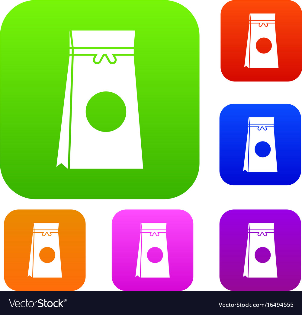 Tea packed in a paper bag set collection vector image