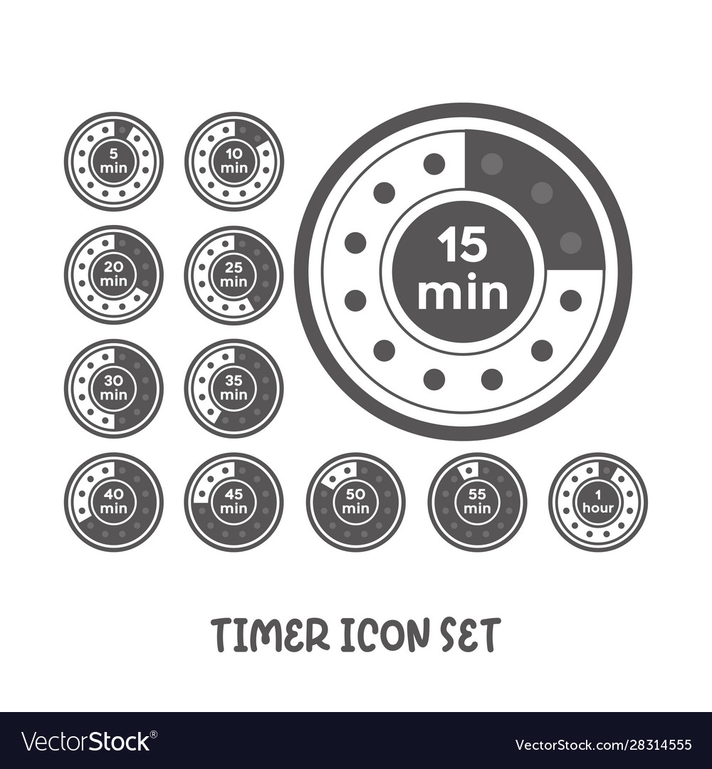 Timer icon set simple flat style