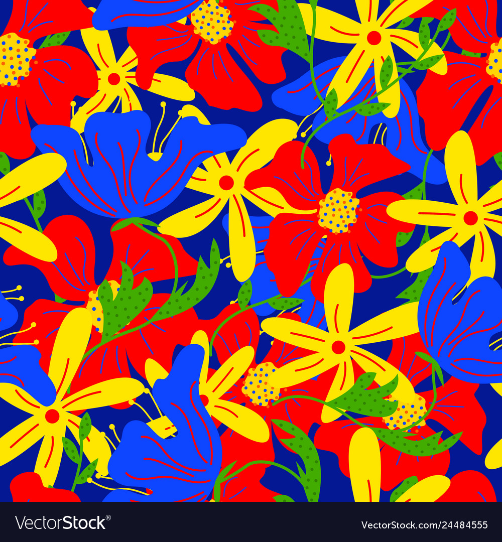 Trendy floral seamless pattern with doodle