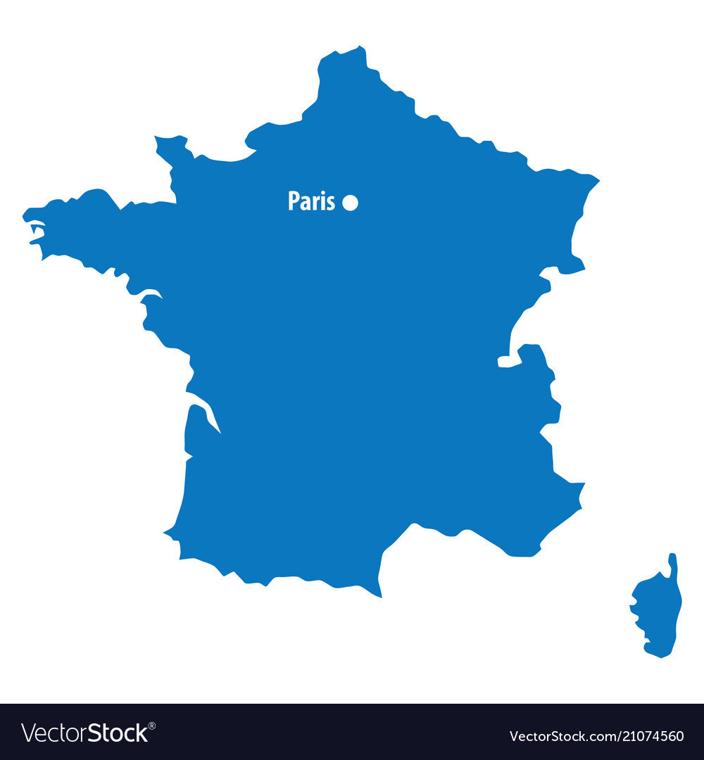 Map Of The France.Blue Similar France Map With Capital City Paris D
