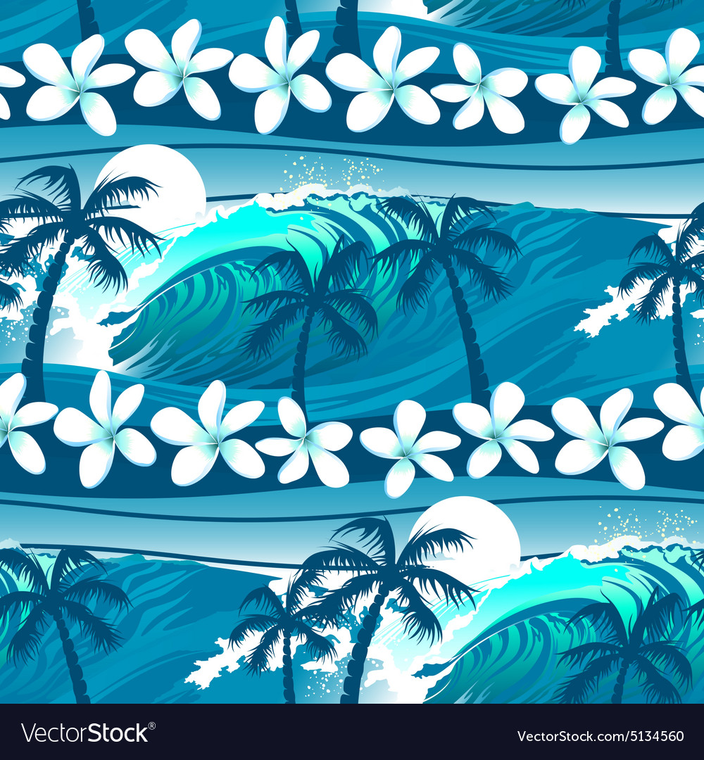 Blue tropical surfing with palm trees seamless