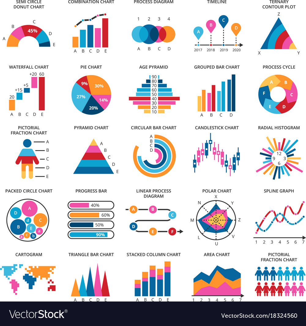 Business data graphs financial and vector image