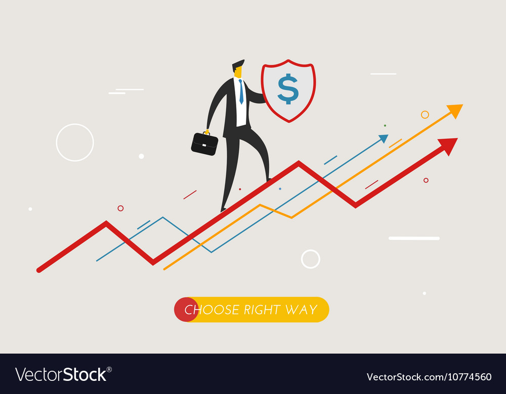 Businessman climbing graph protects the shield