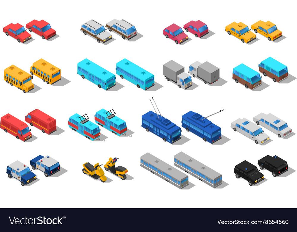 City Transport Isometric Icons Set vector image
