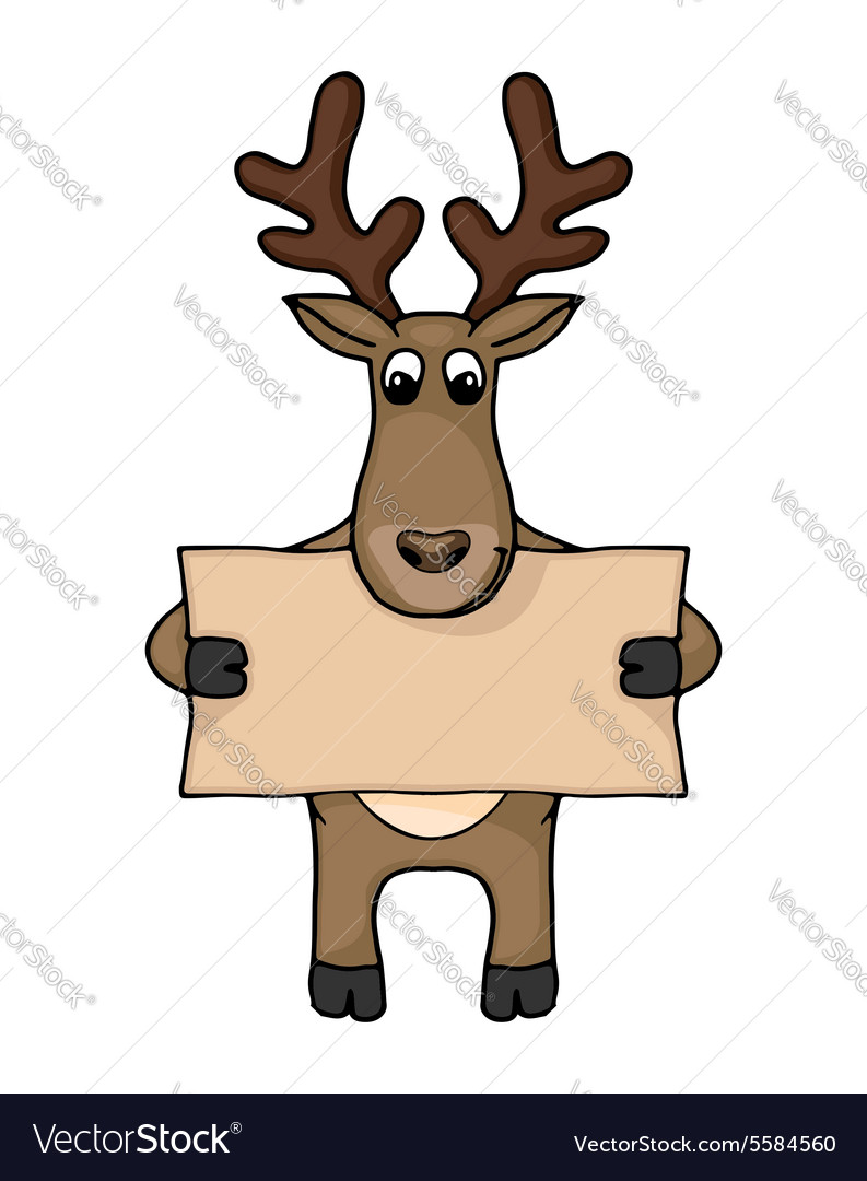 Cute hand drawn deer with blank banner vector image