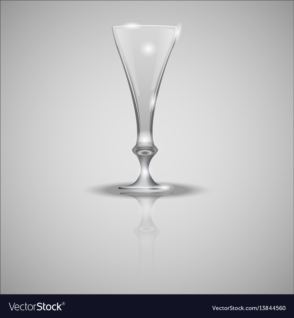 Empty glass cup on mirror vector image