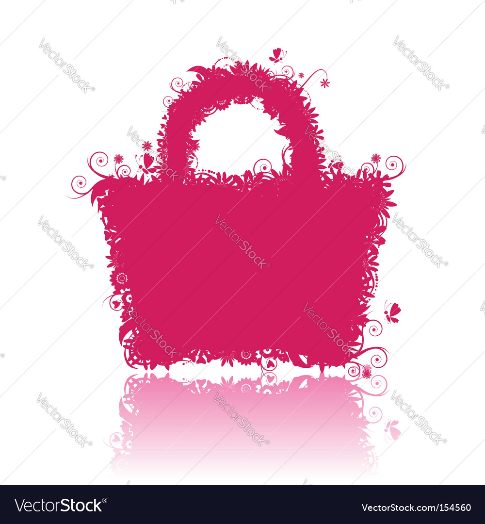 Floral shopping bag silhouette