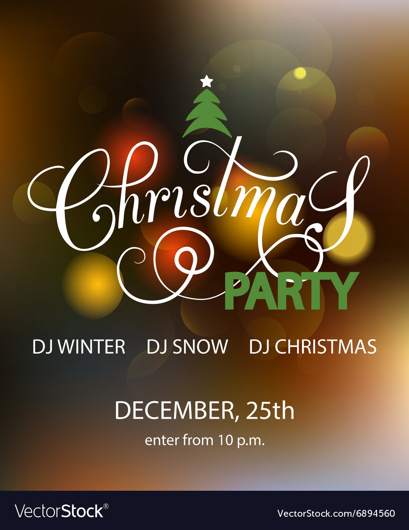 Lettering For Christmas Party Invitation Card
