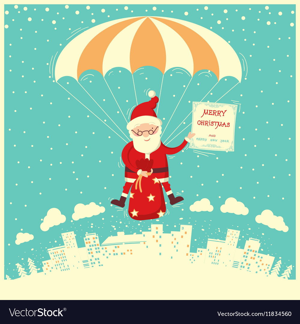 Santa Claus on parachute fly in winter sky