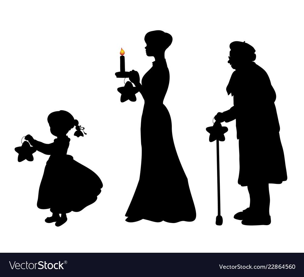 Silhouette girl mother grandmother bear star