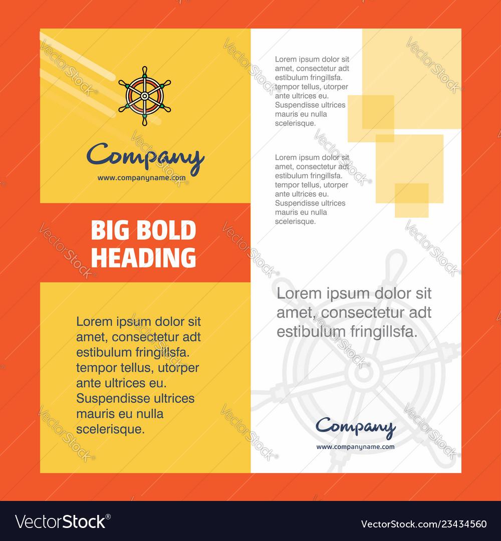 Steering Company Brochure Title Page Design Vector Image On Vectorstock