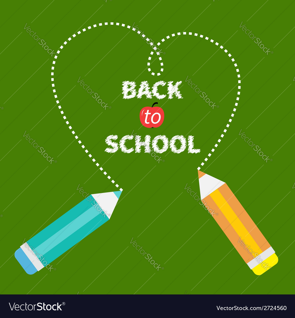 Two pencils dash heart on green Back to school vector image