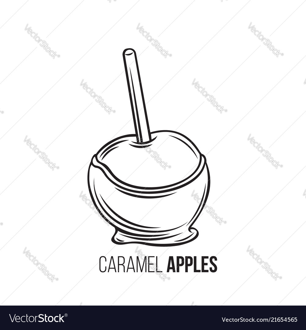 Apples In Caramel Royalty Free Vector Image Vectorstock