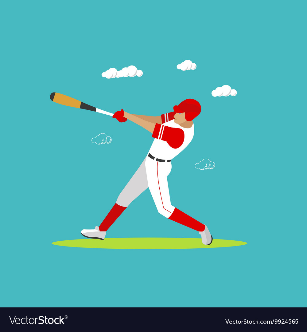 Baseball player with equipment Sport concept