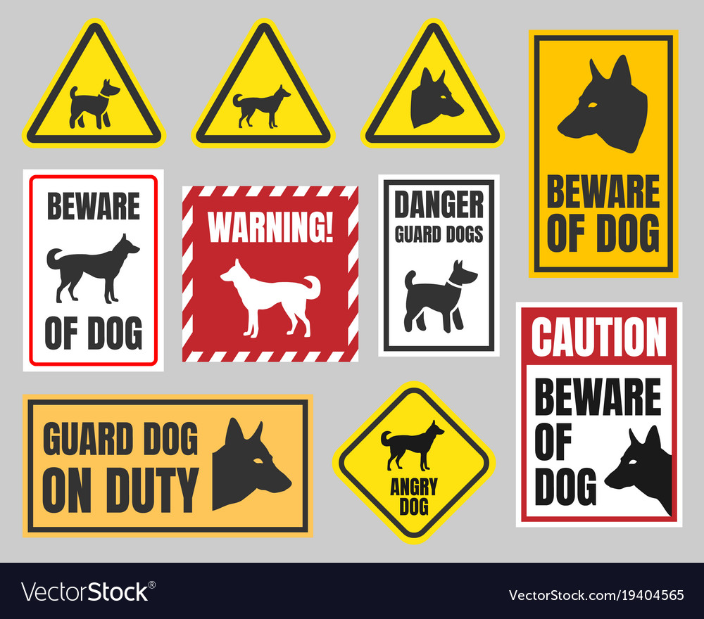 Caution Dog Signs Beware Of Vector Image