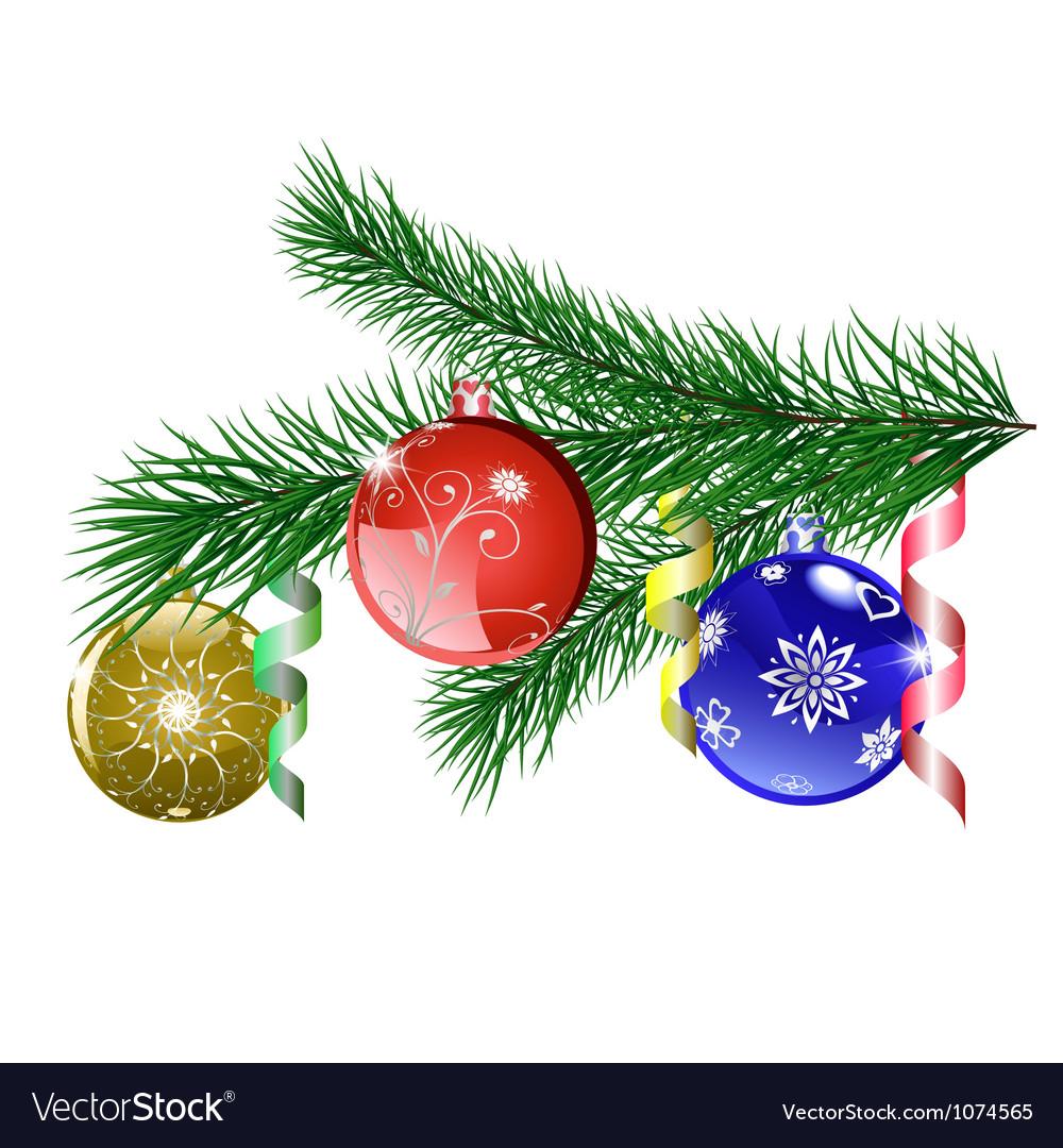 Christmas tree branch with Christmas balls vector image