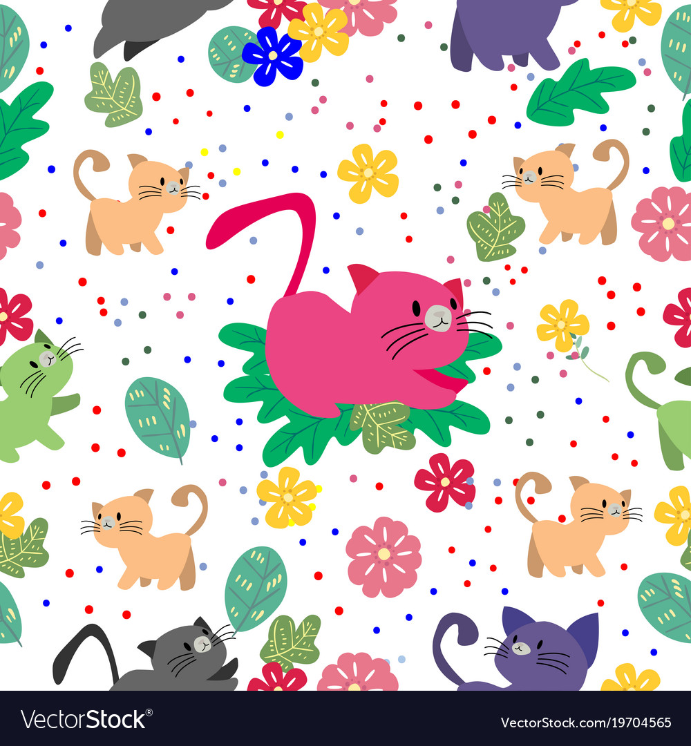 Cute cat seamless pattern with flower on colorful vector image