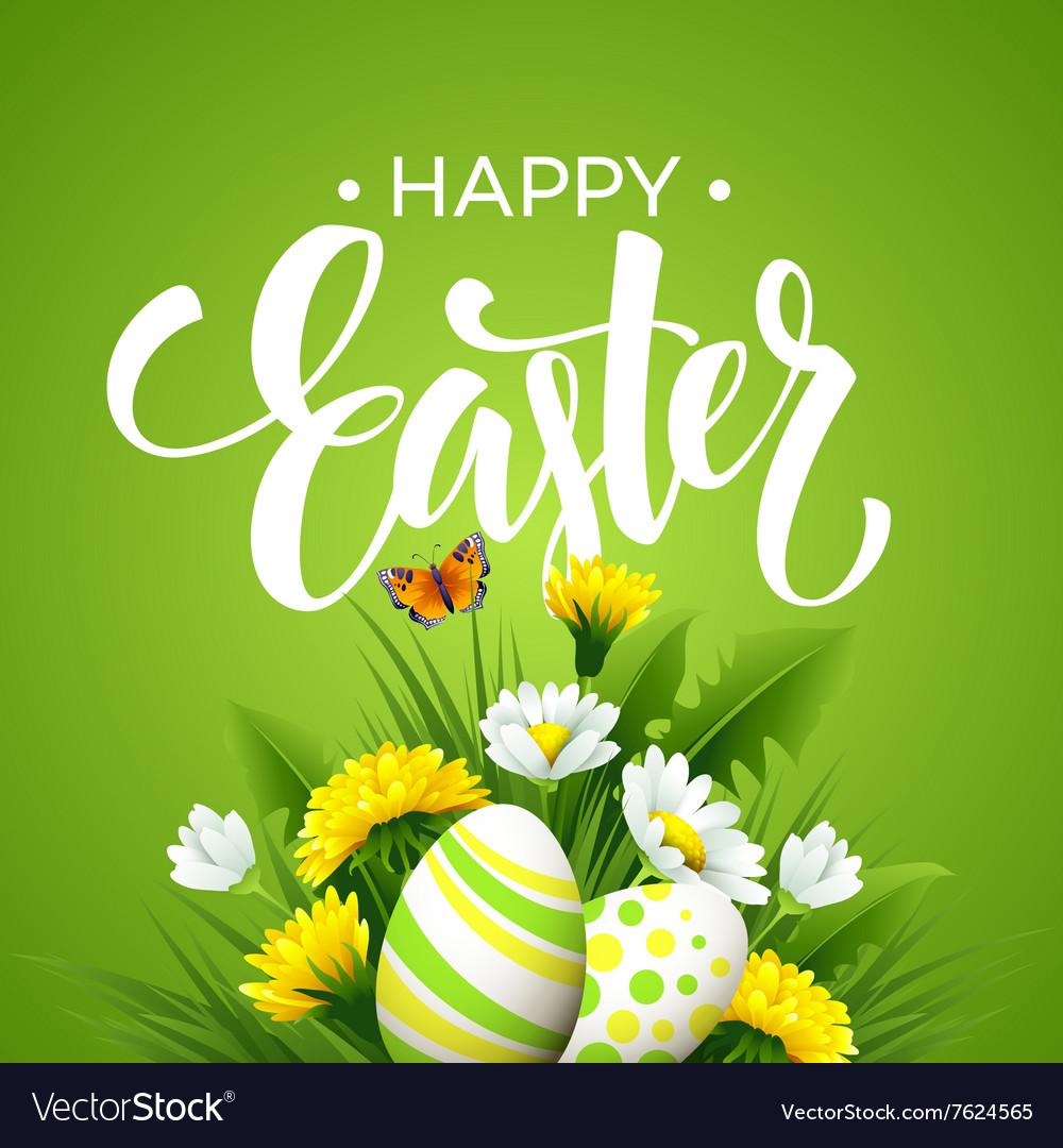 Easter greeting Lettering Flower Egg