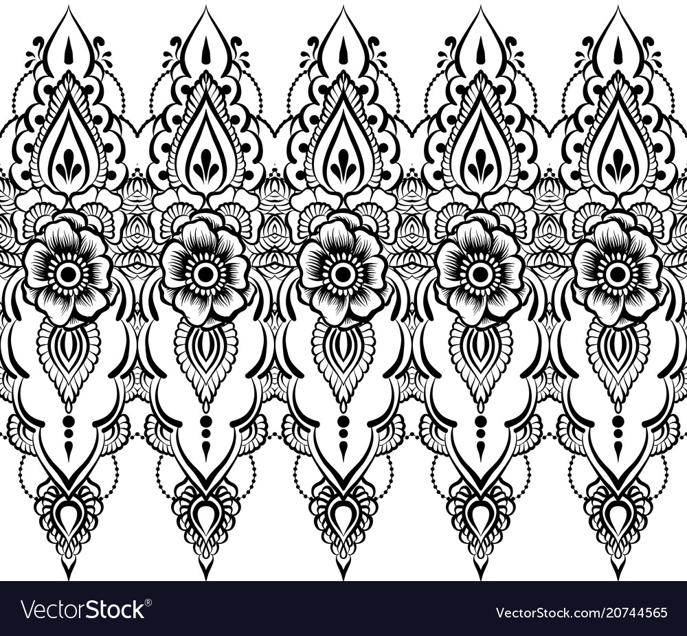Ethnic indian line art border