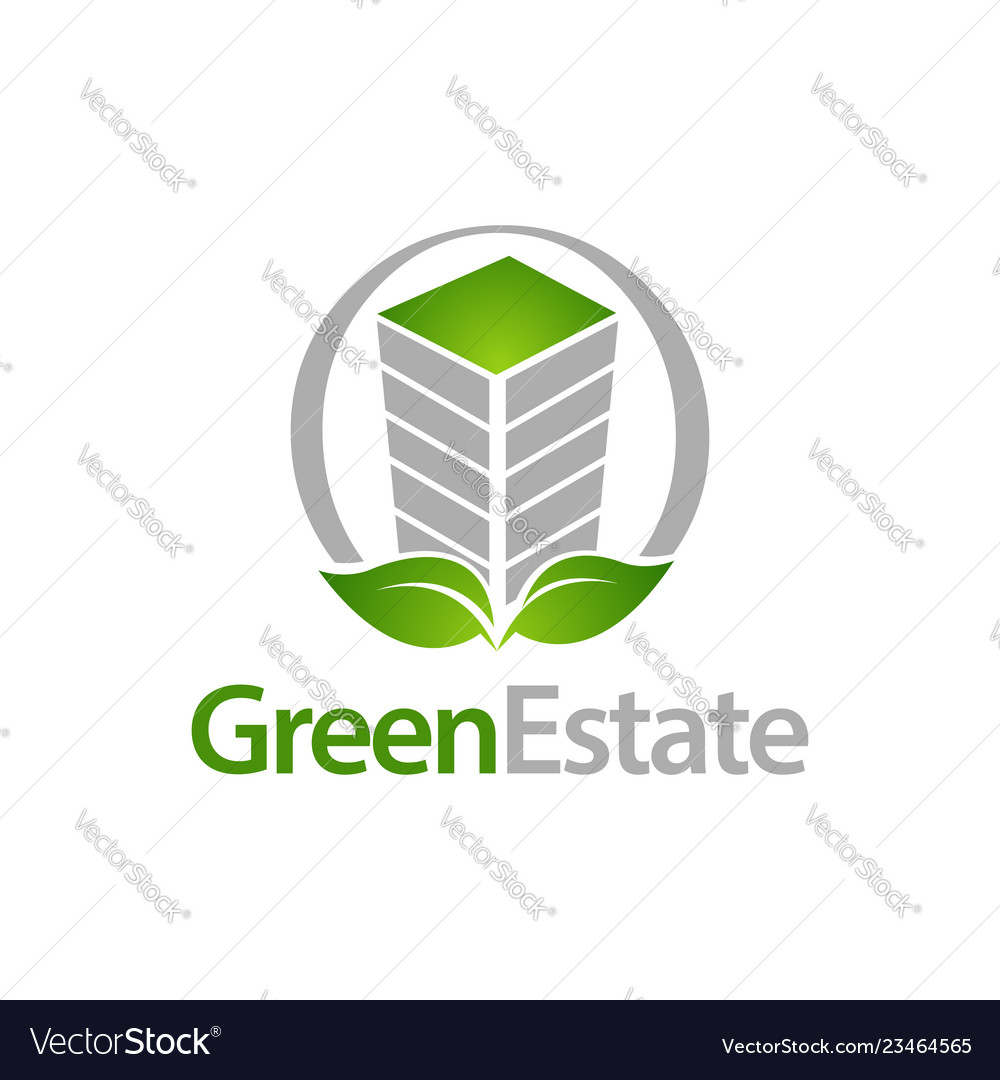Green estate circle building with leaf icon logo
