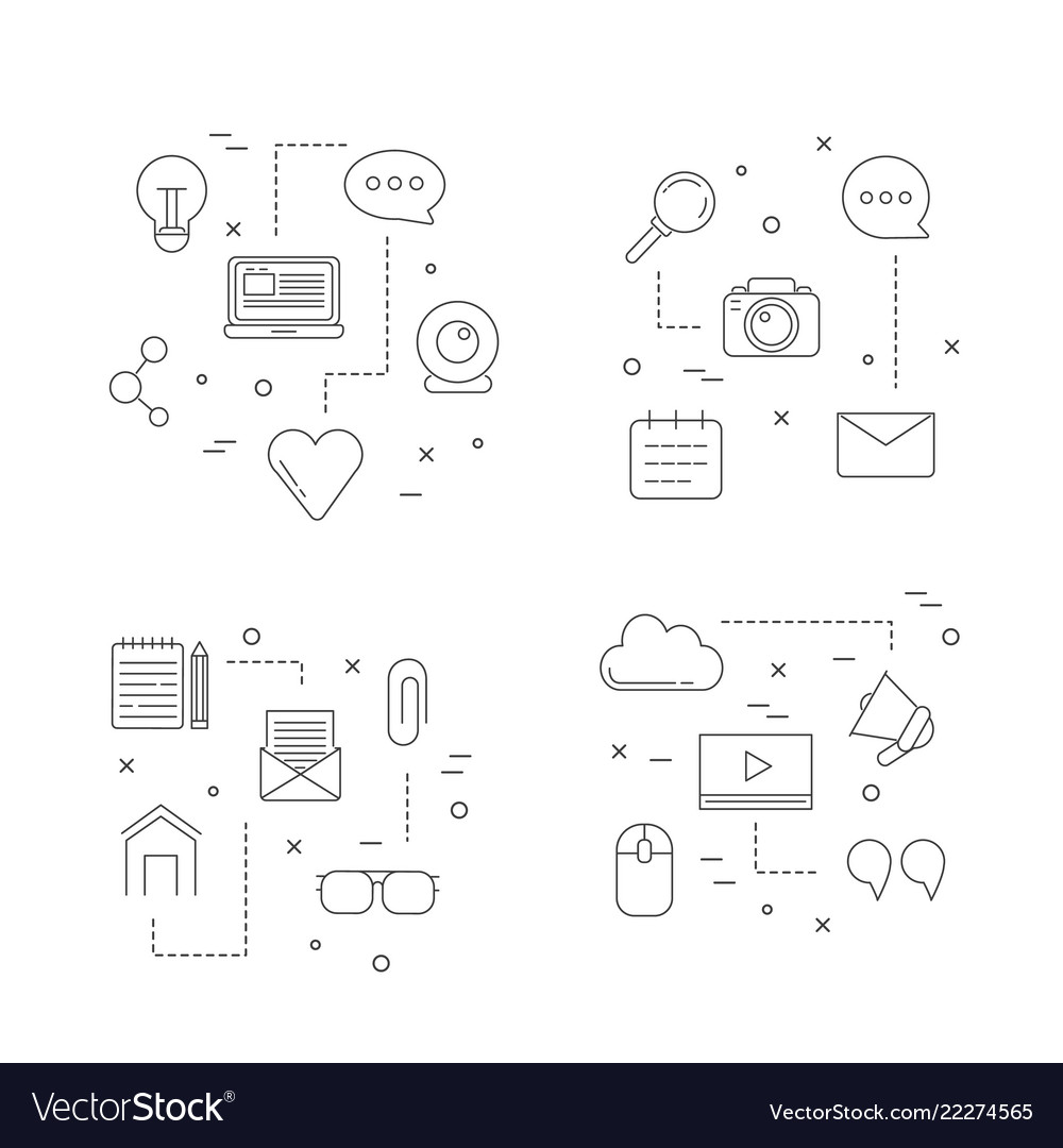 Line blog icons infographic concept