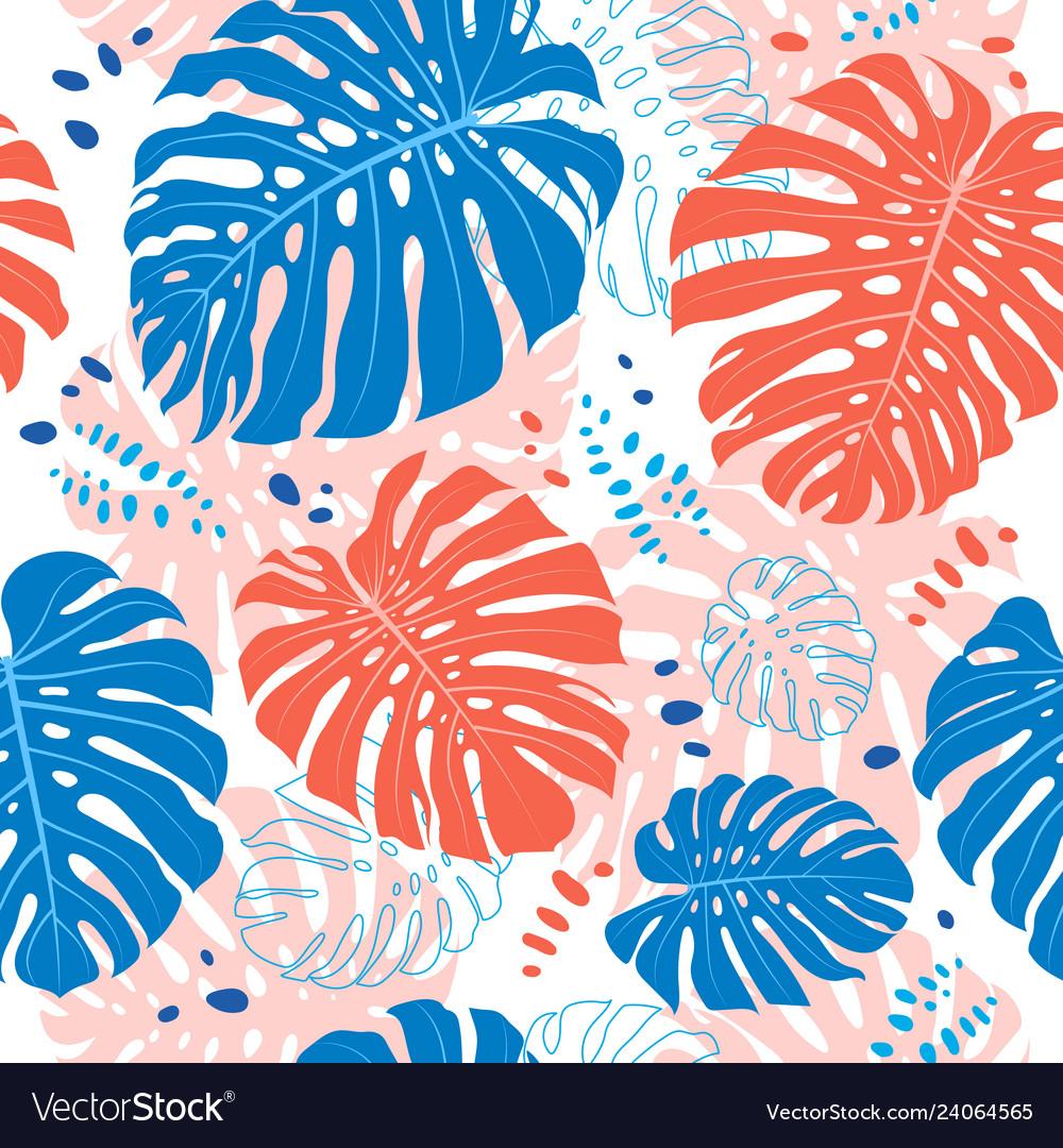Tropical leaves seamless pattern monstera leaf