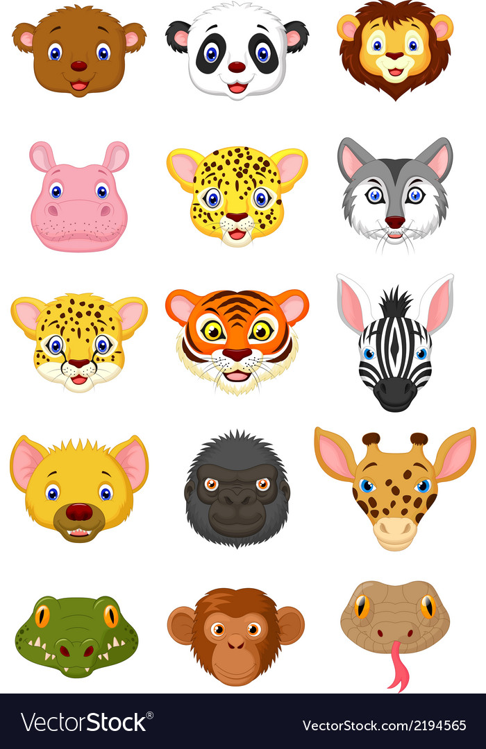 Wild animal head cartoon