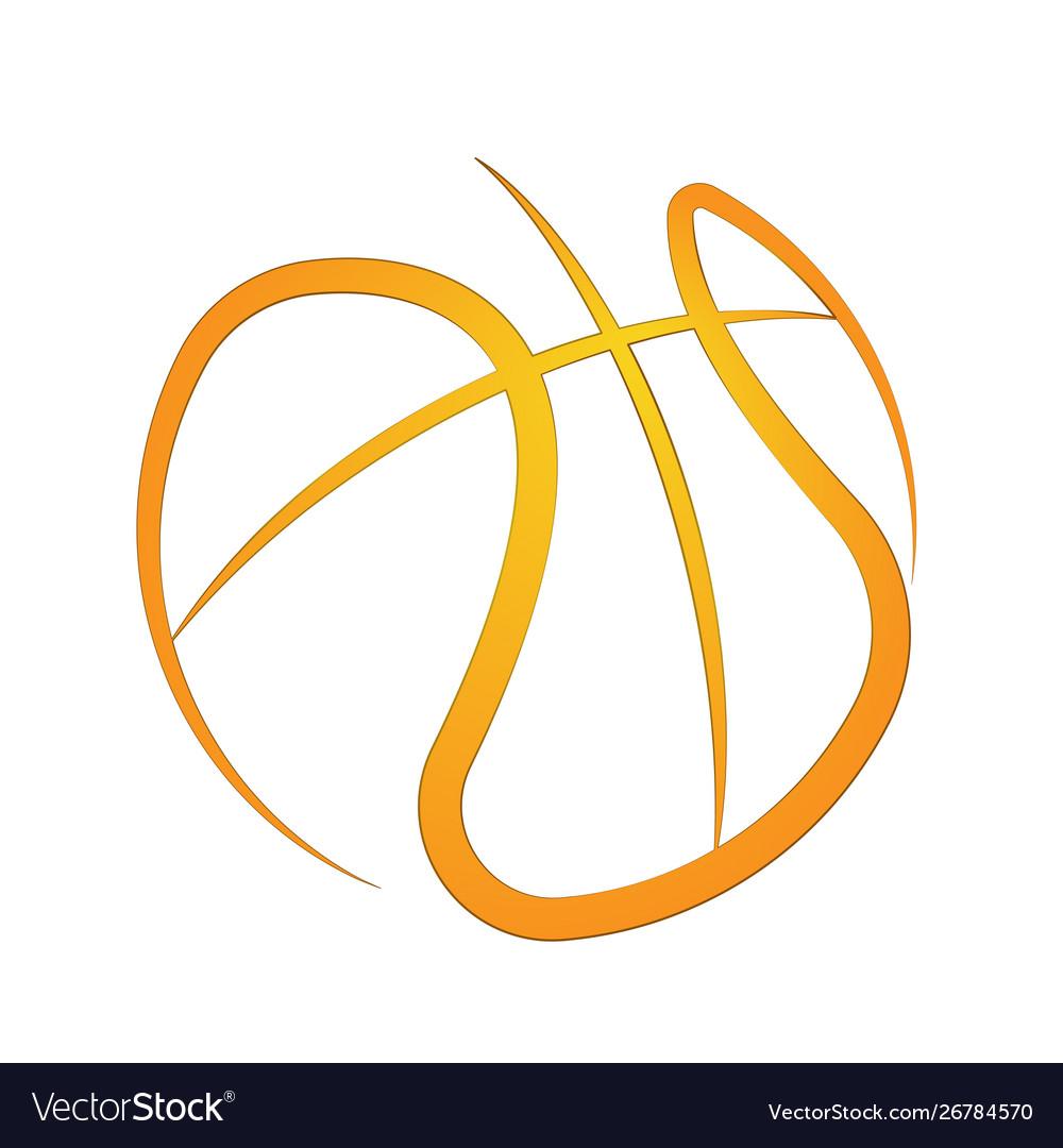 Basketball outline orange symbol background