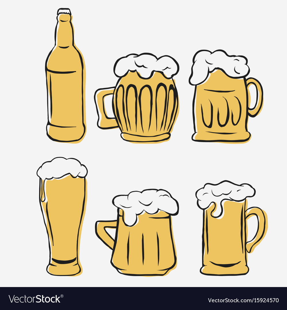 Beer glasses set hand-drawing glass and bottle