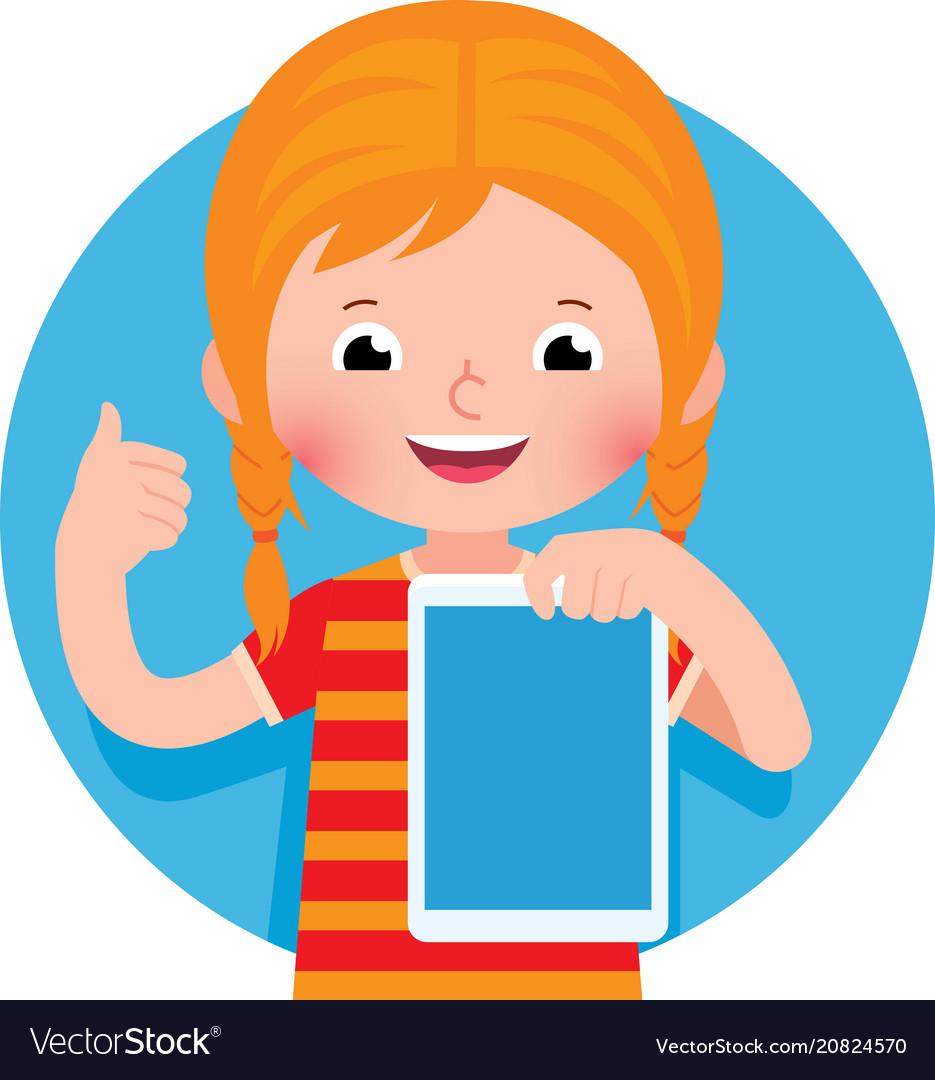 Cheerful cute little girl holding a computer