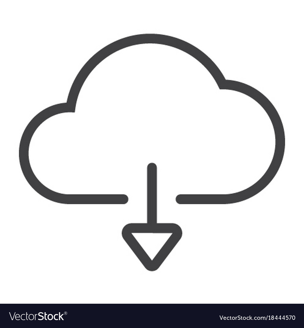 Download from cloud line icon web and mobile