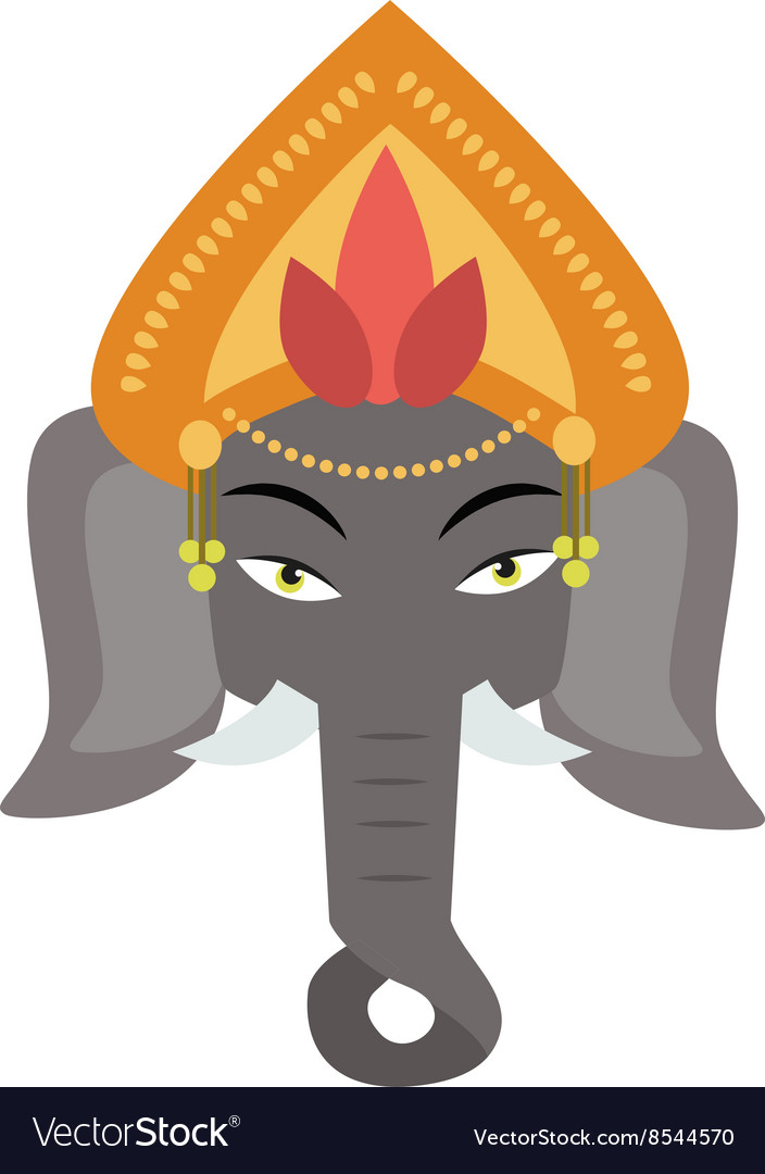 Ethnic patterned head of indian elephant on the