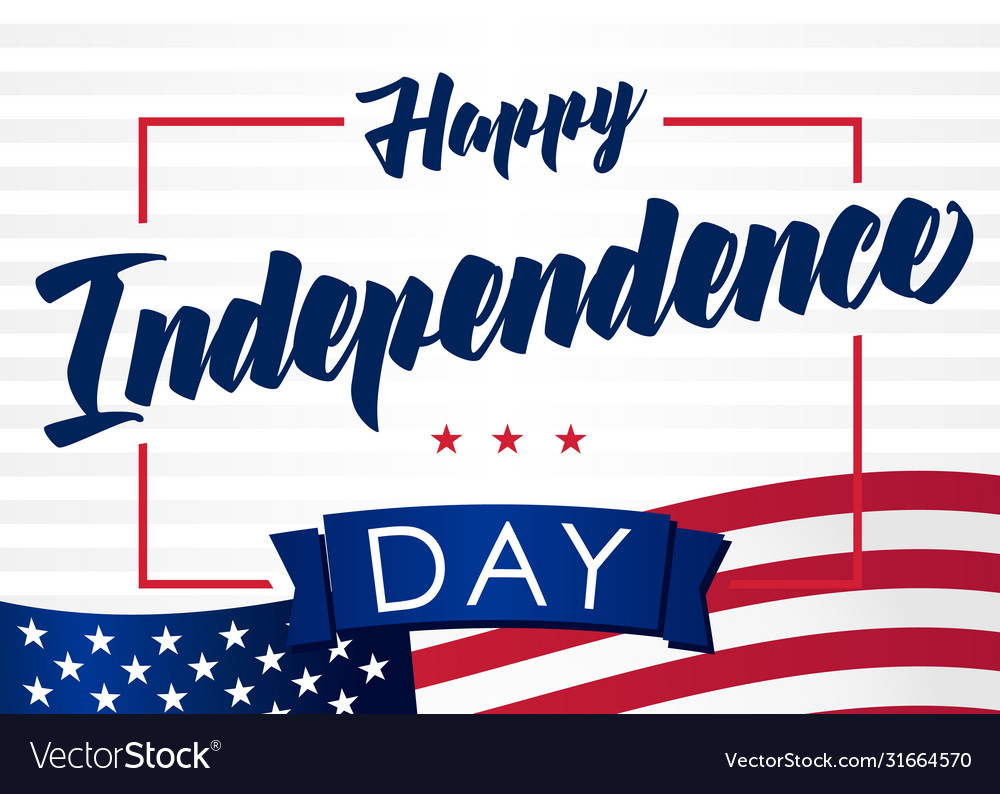 Happy independencel day 4 july light banner