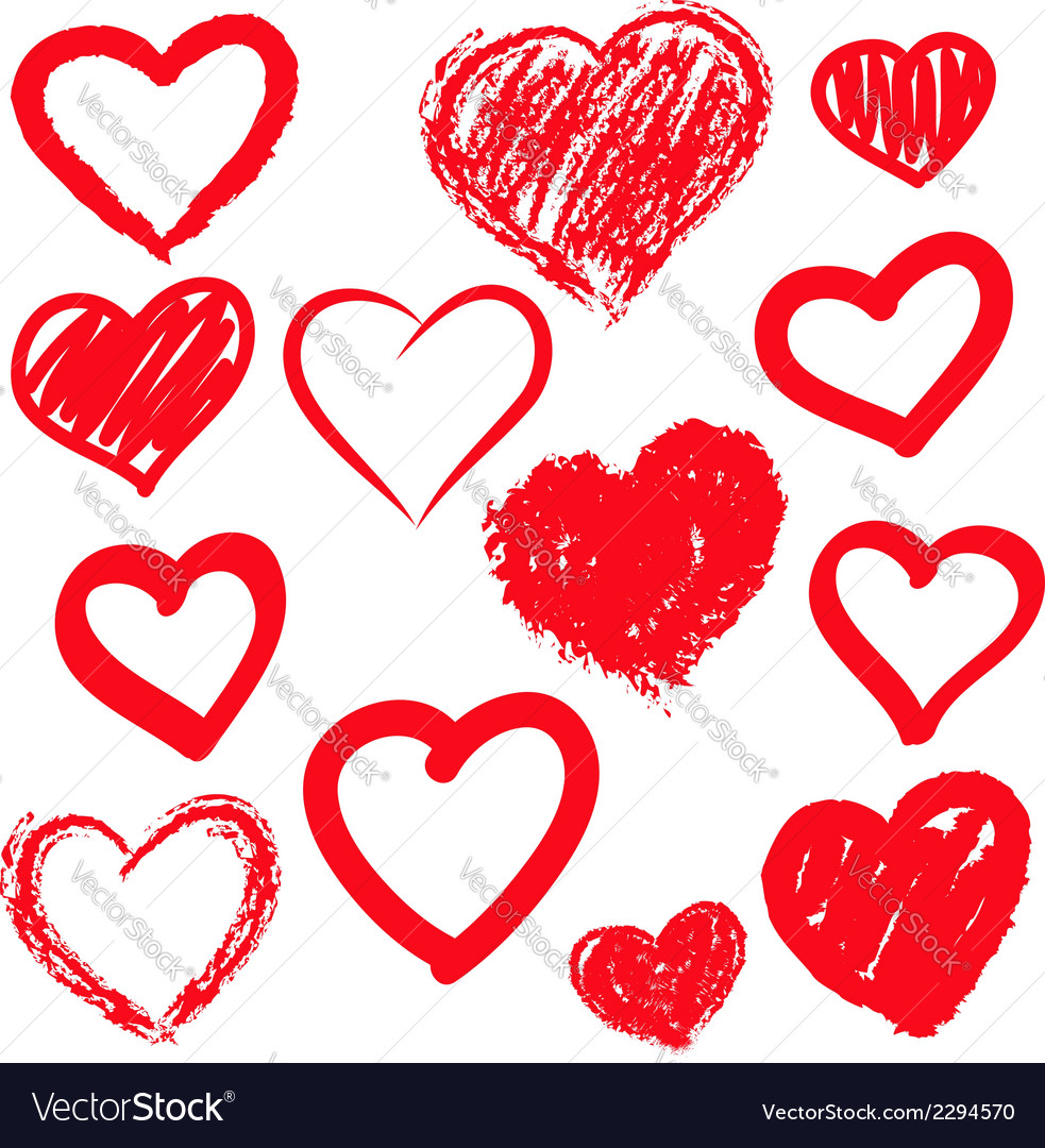 Hearts set hand drawn