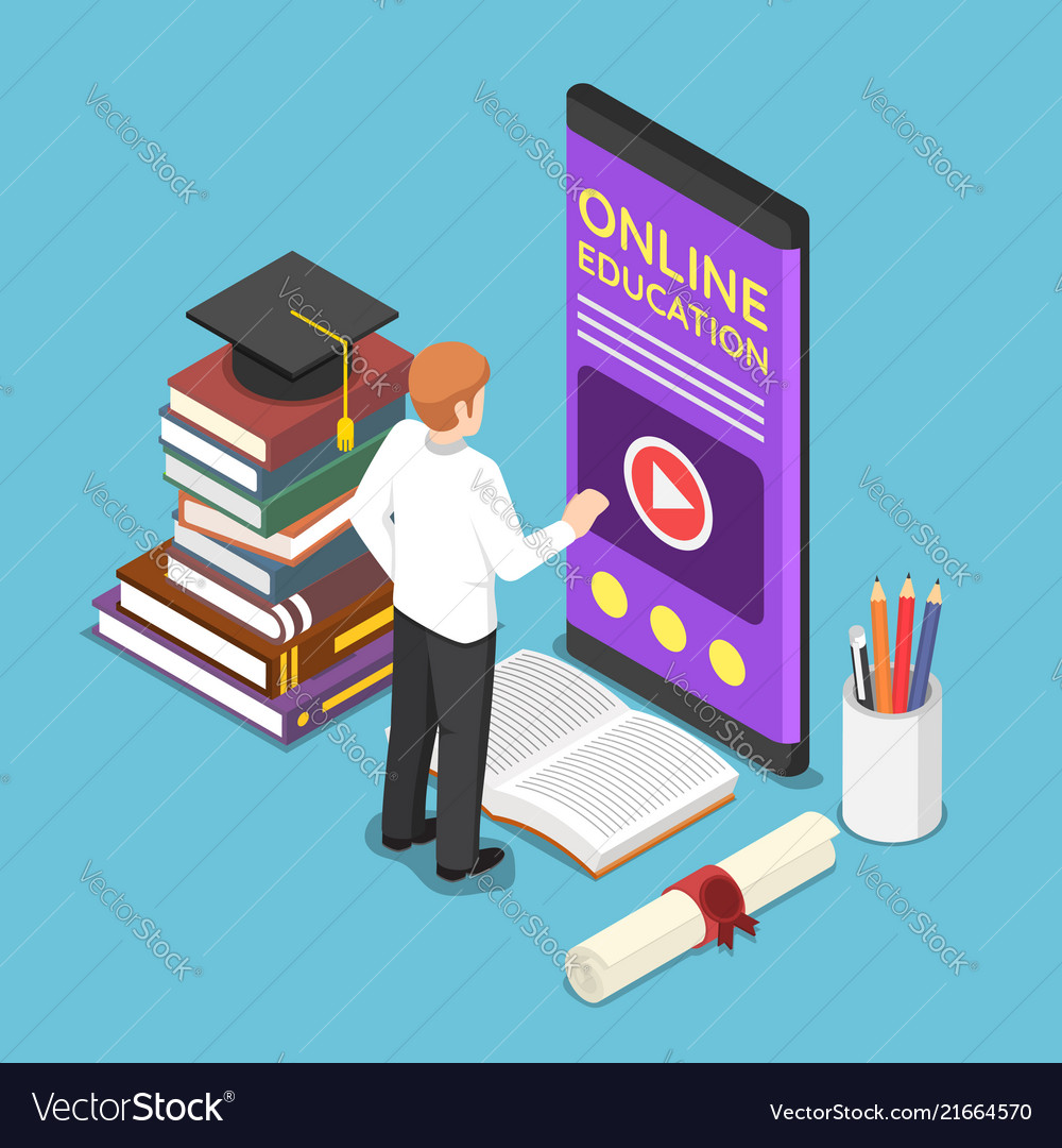 Isometric businessman using e-learning or online