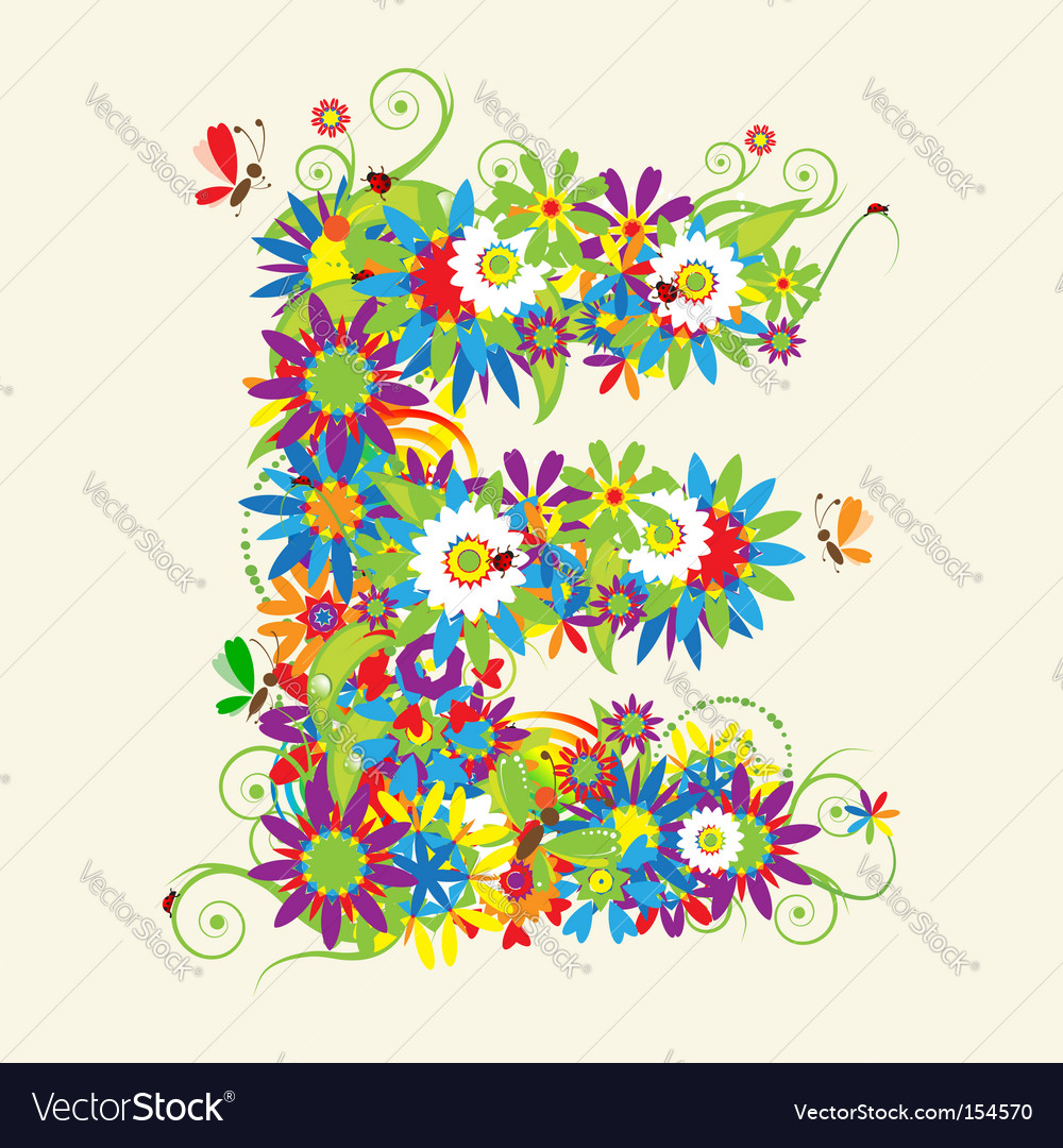 Letter E floral design Royalty Free Vector Image
