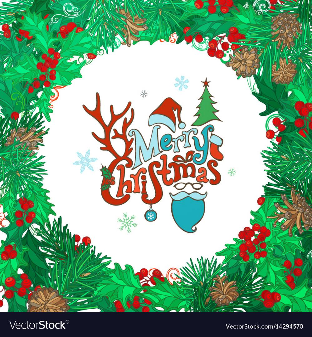 Merry christmas round frame