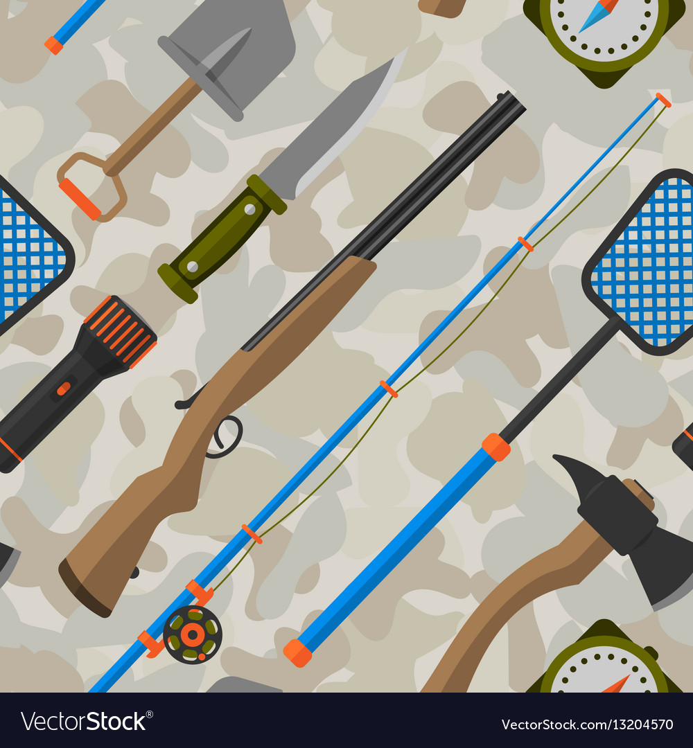 Outdoor travel camping seamless pattern tourism